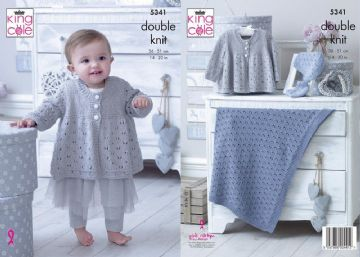 King Cole 5341 DK Knitting Pattern Babies Matinee Jacket, Bootees, Hat & Blanket